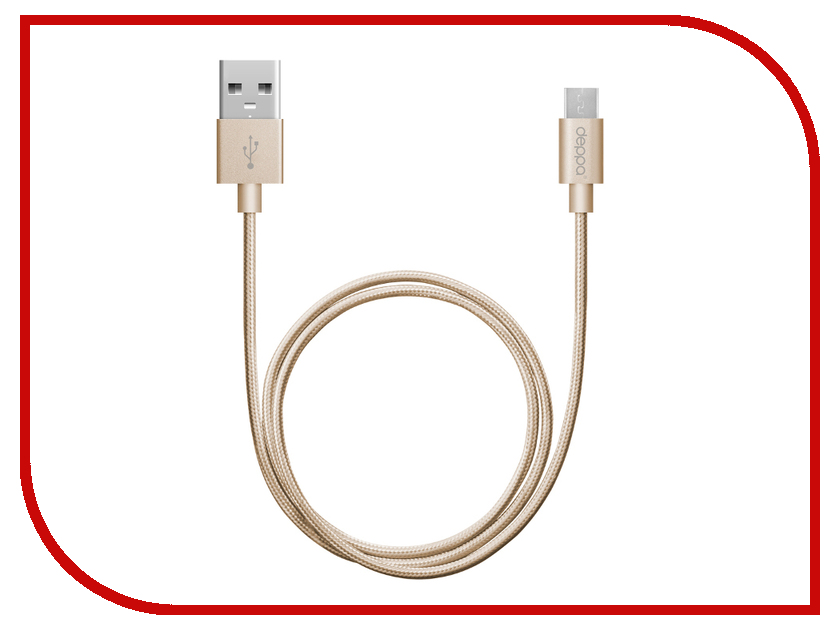 Аксессуар Deppa USB - micro USB 1.2m Gold 72191 аксессуар