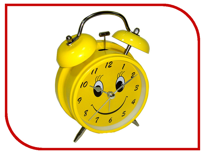 Часы настольные Эврика Будильник Смайл D-11.6cm Yellow 91863