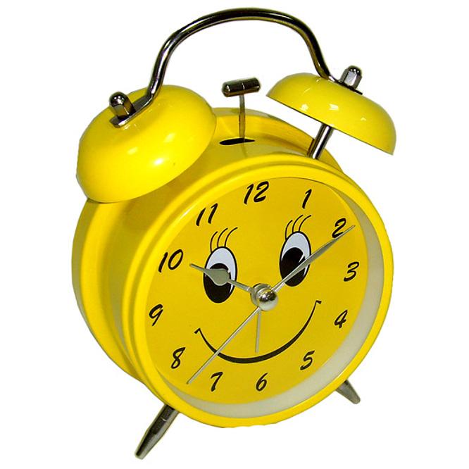 Часы Эврика Будильник Смайл D-11.6cm Yellow 91863