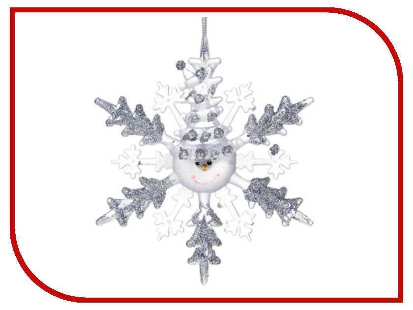 Новогодний сувенир Luazon Снежинка снеговик Silver 1077319 волшебная снежинка