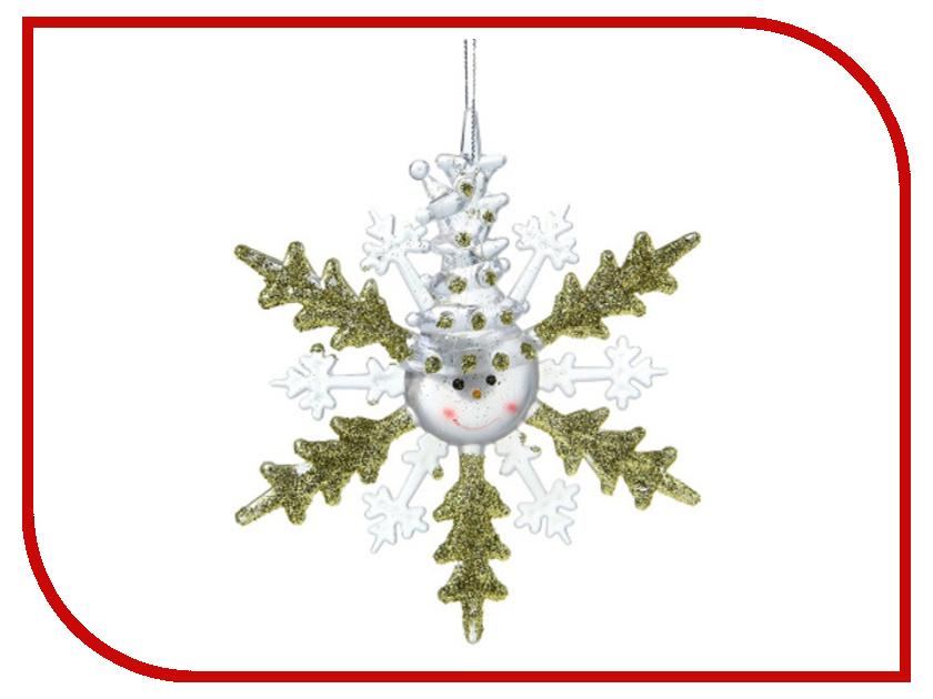 Новогодний сувенир Luazon Снежинка снеговик Gold 1077320