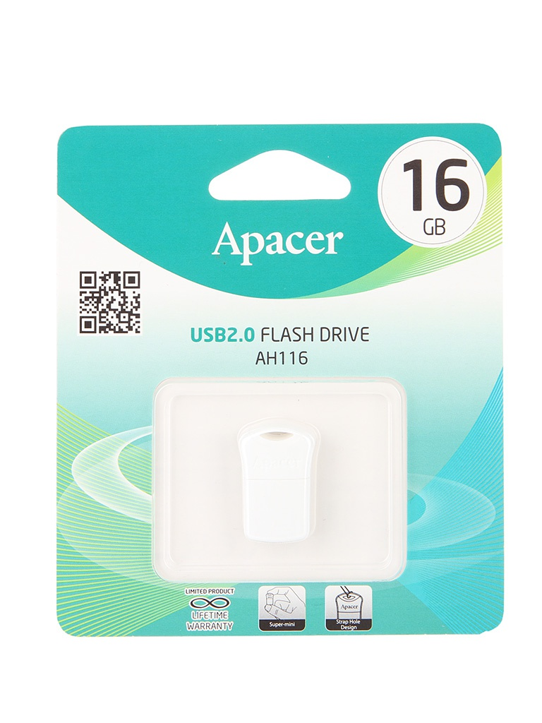 USB Flash Drive 16Gb - Apacer AH116 AP16GAH116W-1 White<br>