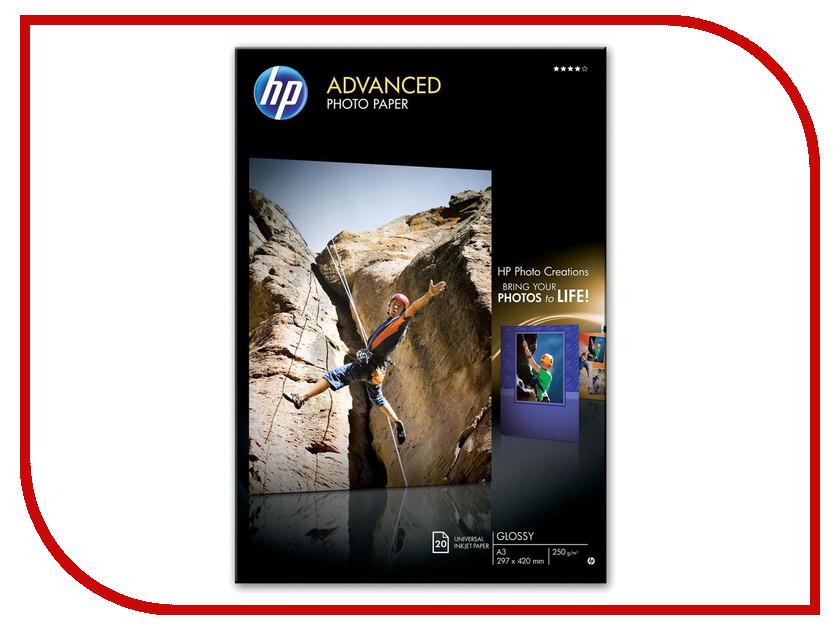Фотобумага HP Q8697A Глянцевая 250g/m2 A3 20 листов<br>