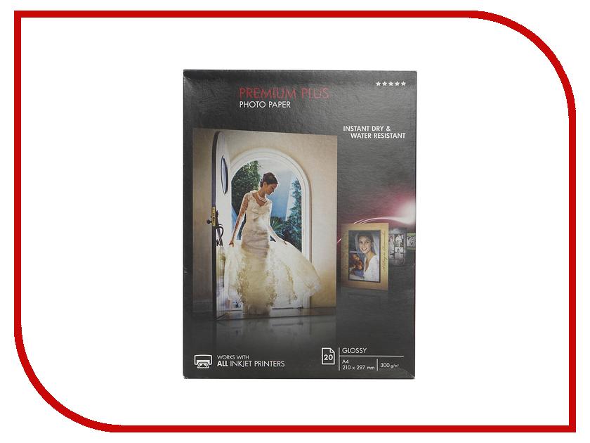 Фотобумага HP Premium Plus CR672A Глянцевая 300g/m2 A4 20 листов hewlett packard hp лазерный мфу печать копирование сканирование