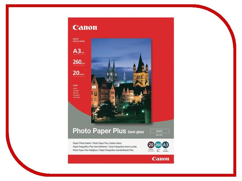 Фотобумага Canon SG-201 1686B026 Полуглянцевая 260g/m2 A3 20 листов<br>