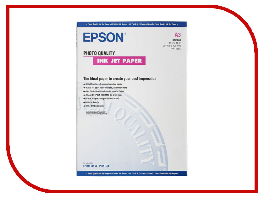 Фотобумага Epson C13S041068 Матовая 102g/m2 A3 100 листов<br>