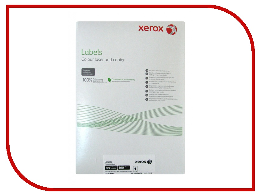 Бумага Xerox Colotech А4 003R93872 самоклеящаяся 100 листов