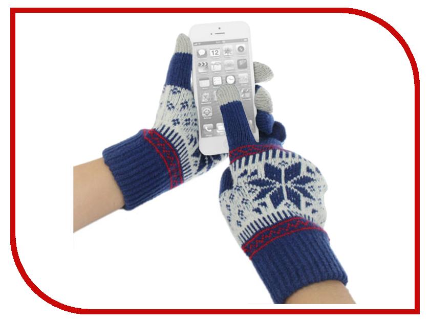 Теплые перчатки для сенсорных дисплеев Fototo Снежинка Blue