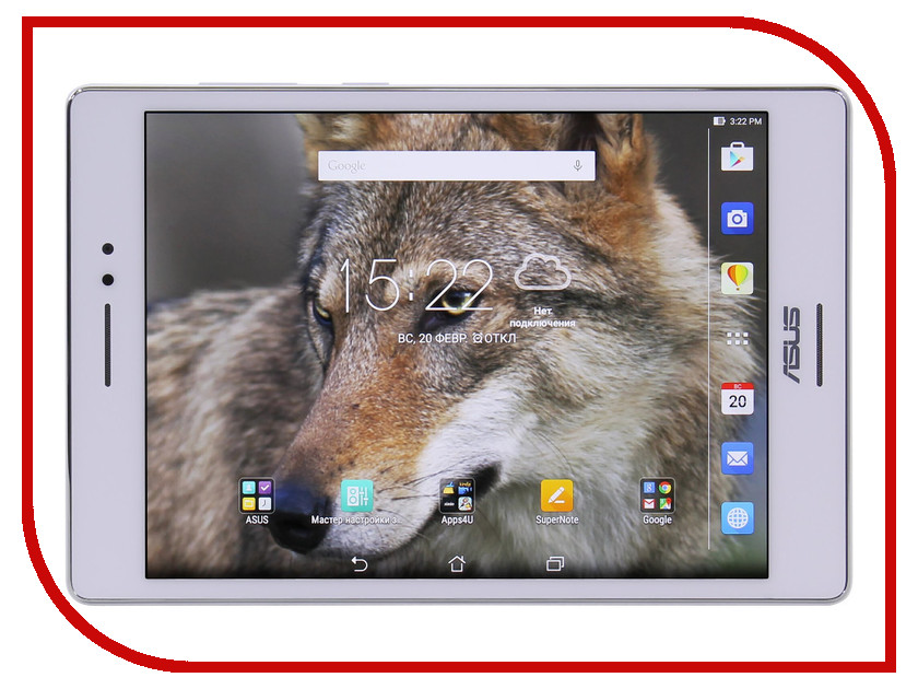 Планшет ASUS ZenPad S 8.0 Z580CA-1B046A White 90NP01M2-M01290 Intel Atom Z3580 2.33 GHz/4096Mb/64Gb/Wi-Fi/Bluetooth/Cam/8.0/2048x1536/Android