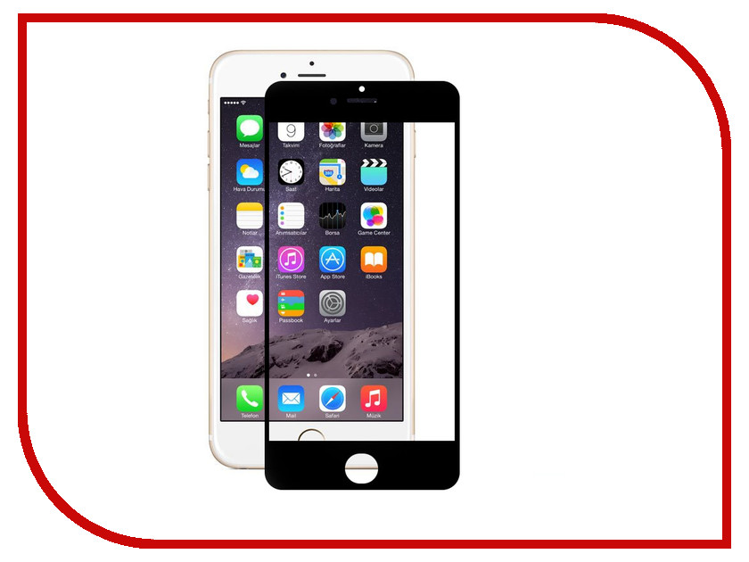 Аксессуар Защитное стекло Onext для iPhone 6 с рамкой Black 40935 защитное стекло onext для apple iphone 7 plus глянцевое