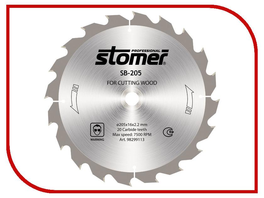 Диск Stomer SB-205 пильный, по дереву, 205x16mm, 20 зубьев dell inspiron 5748 8830