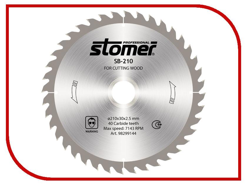 Диск Stomer SB-210 пильный, по дереву, 210x30mm, 40 зубьев<br>