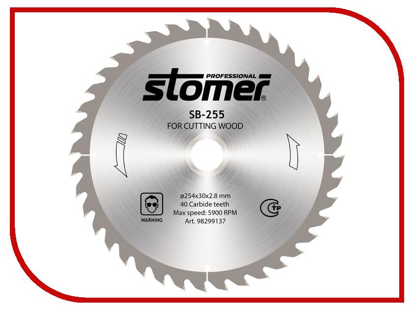 Диск Stomer SB-255 пильный, по дереву, 254x30mm, 40 зубьев<br>