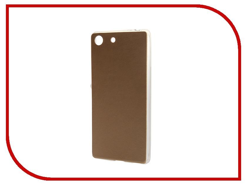 Аксессуар Чехол-накладка Sony Xperia M5 BROSCO Gold M5-LEATHER-TPU-GOLD<br>