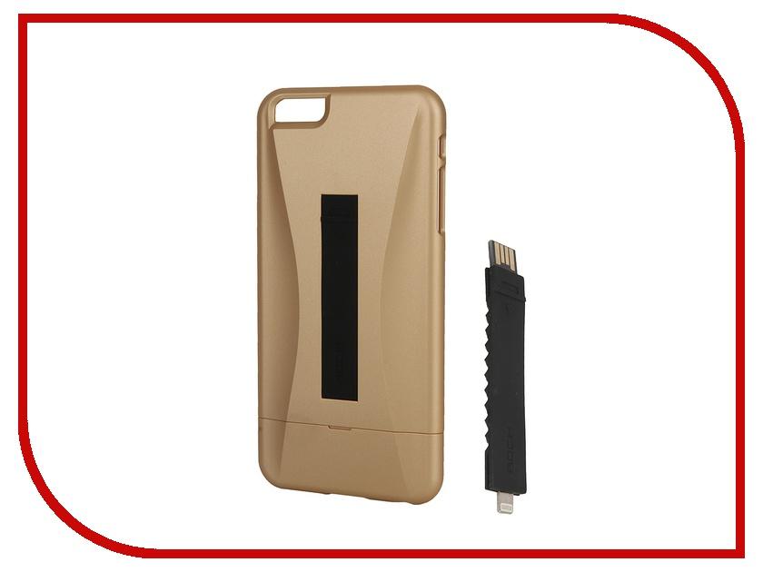Аксессуар Чехол-накладка ROCK Ninja Series для iPhone 6/6S Plus 5.5 Golden + Lightning кабель<br>