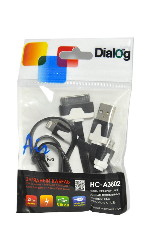Аксессуар Dialog 8pin/30pin/microUSB - USB AM V2.0 0.25m HC-A3802