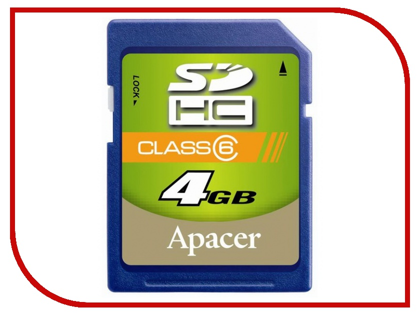 Карта памяти 4Gb - Apacer High-Capacity Class 6 - Secure Digital AP4GSDHC6-R