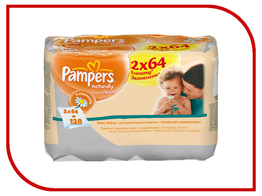 Салфетки Pampers Naturally Clean DUO 128шт 4015400637028