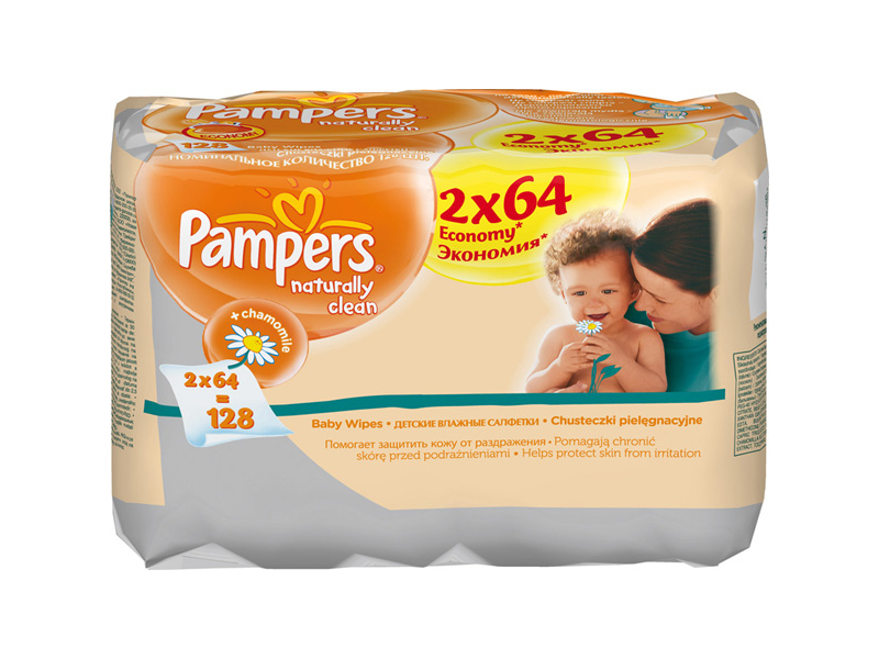 Салфетки Pampers Naturally Clean DUO 128шт PA-81448785<br>