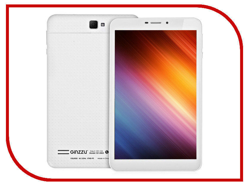 Планшет Ginzzu GT-X853 White (MediaTek MTK8382 1.3 GHz/1024Mb/8Gb/3G/Wi-Fi/Bluetooth/Cam/8.0/1280x800/Android)