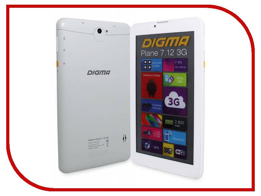 Планшет Digma Plane 7.12 Smoky 314753 Spreadtrum SC7731 1.2 GHz/1024Mb/8Gb/3G/Wi-Fi/Bluetooth/GPS/Cam/7.0/1024x600/Android