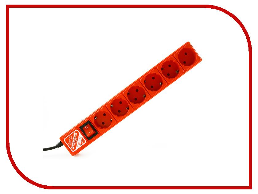 Сетевой фильтр Power Cube 5+1 Socket 3m Red<br>