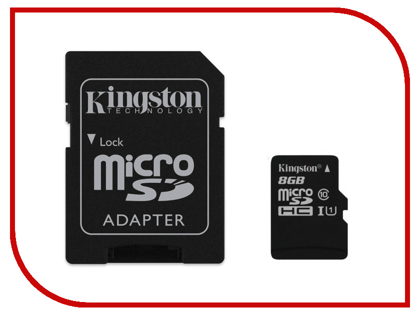 Карта памяти 8Gb - Kingston Micro Secure Digital HC Class 10 UHS-I SDC10G2/8GB с переходником под SD<br>