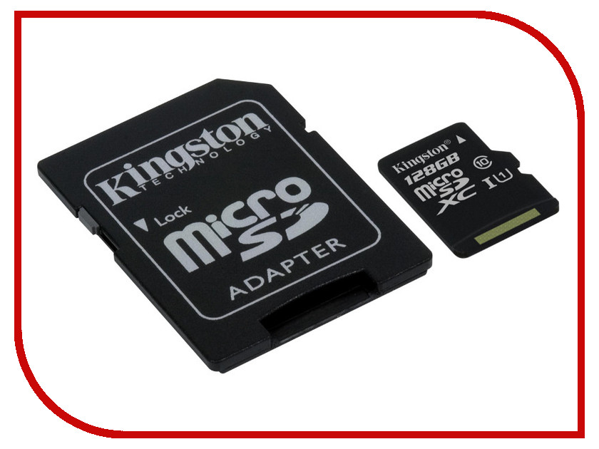 Карта памяти 128Gb - Kingston Micro Secure Digital XC Class 10 UHS-I SDC10G2/128GB с переходником под SD карта памяти 128 гб для телефона