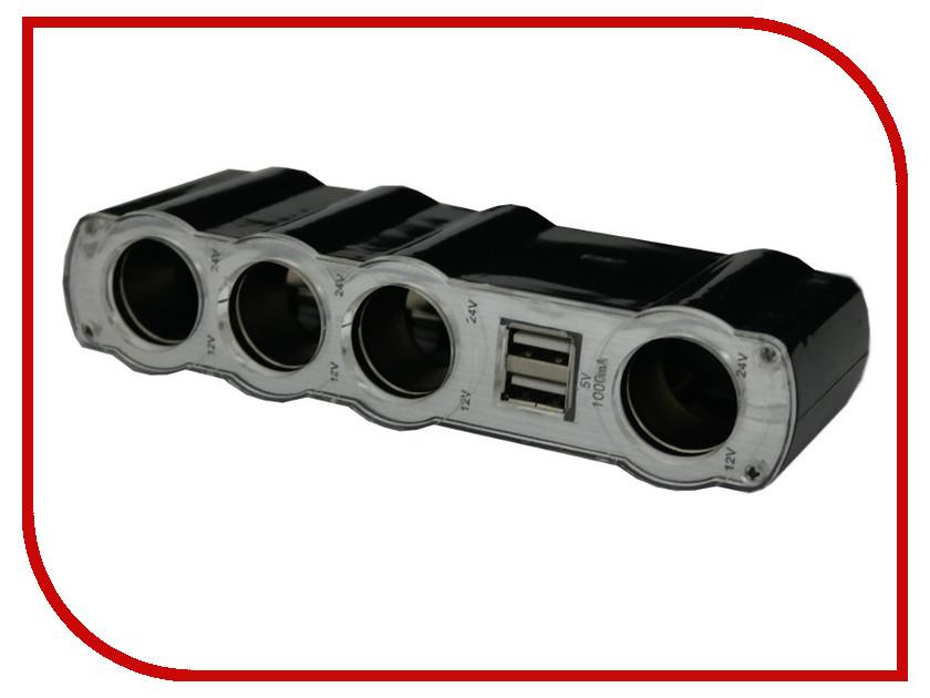 Аксессуар Разветвитель прикуривателя на 4 гнезда и 2 USB Intego C-12 Black