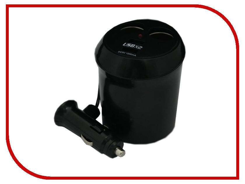 Аксессуар Разветвитель прикуривателя на 2 гнезда и 2 USB Intego C-13 Black
