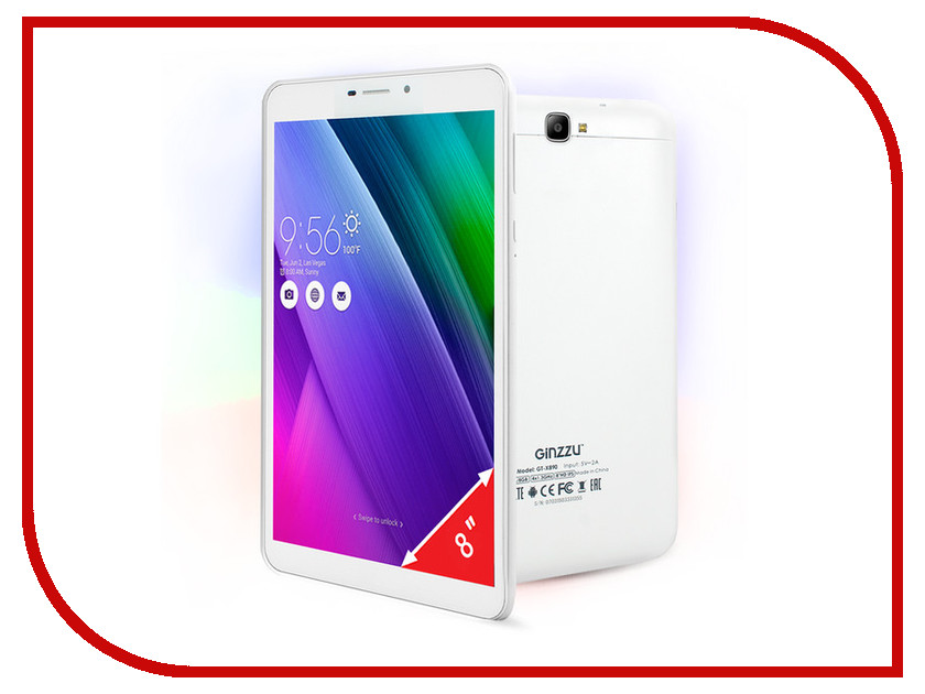 Планшет Ginzzu GT-X890 White (MediaTek MT8735 1.3 GHz/1024Mb/8Gb/Wi-Fi/3G/Bluetooth/GPS/Cam/8.0/1280x800/Android) планшет ginzzu gt x770 white rev 2