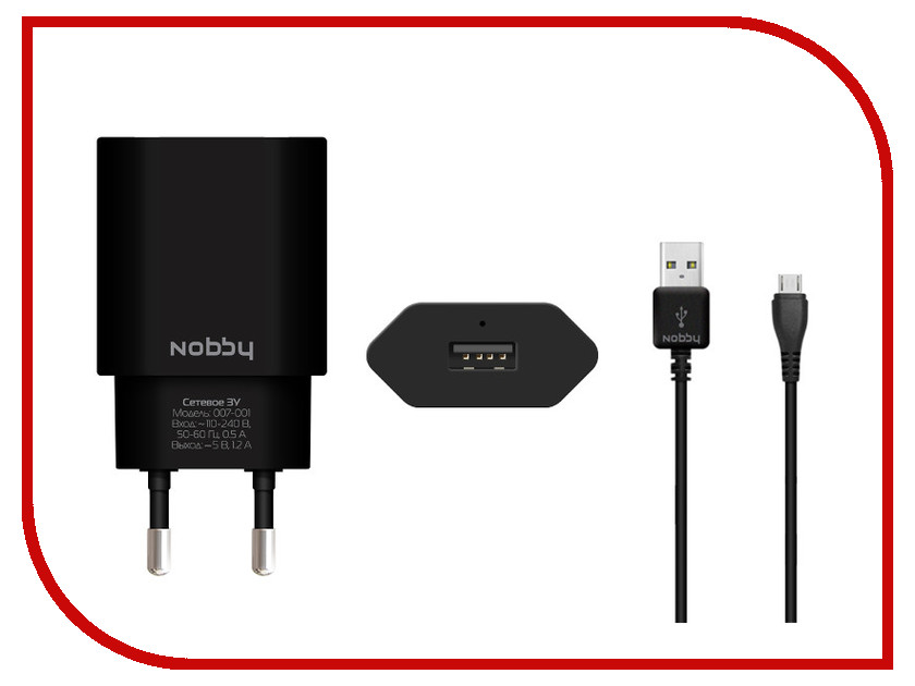 �������� ���������� Nobby Comfort 007-001 USB 1.2A 1.2m Black 08823