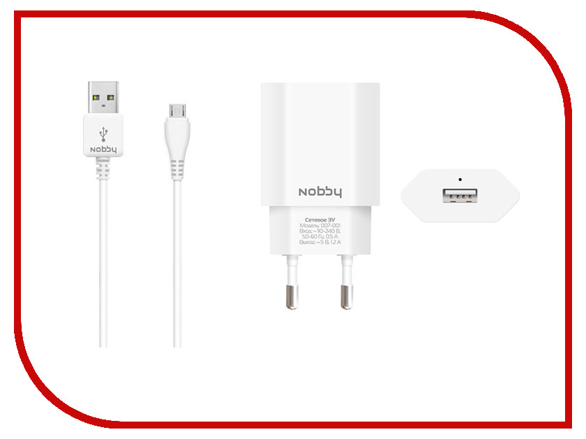 Зарядное устройство Nobby Comfort 007-001 USB 1.2A 1.2m White 08824