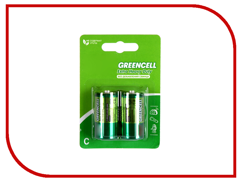 Батарейка C - GP R14 Greencell 14G-2CR2 (2 штуки) батарейка d panasonic zinc carbon r20rz 2bp r20 bl2 2 штуки