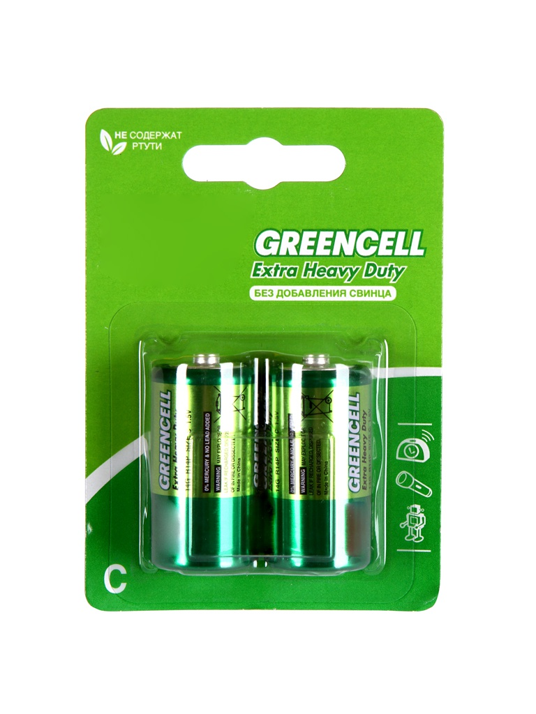 Батарейка C - GP R14 Greencell 14G-2CR2 (2 штуки)