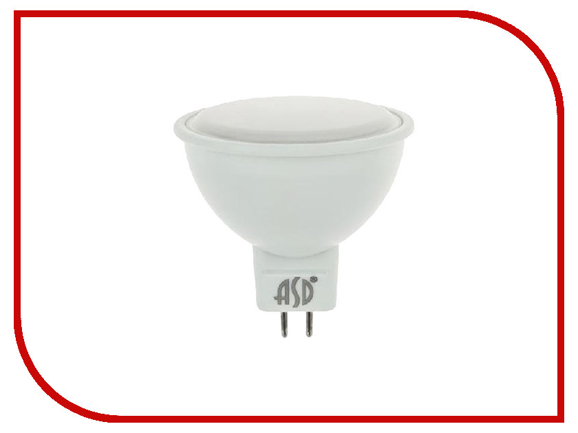 Лампочка ASD LED-JCDR-Standard 7.5W 3000K 160-260V GU5.3 4690612002286 лампочка asd led a60 standard 20w 4000k 160 260v e27 4690612004204