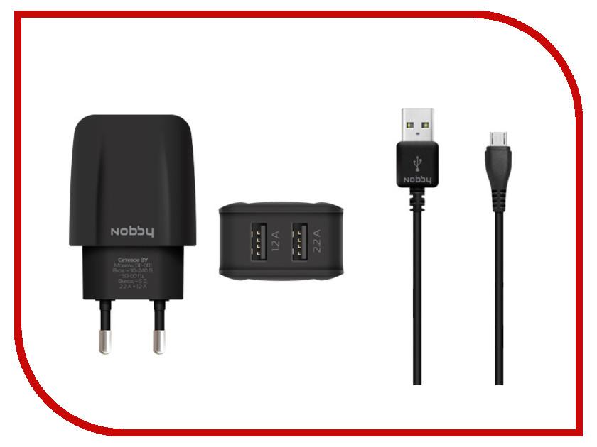 Зарядное устройство Nobby Comfort 011-001 2xUSB 3.4A (2.1/1.2A) + кабель microUSB 1.2m SoftTouch Black