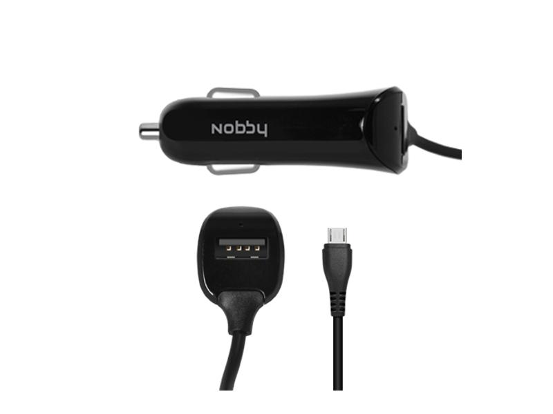 Зарядное устройство Nobby Practic 009-001 microUSB 1.2A 1.2m Black 08821 автомобильное<br>