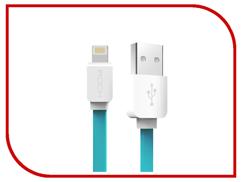 Аксессуар ROCK Flat USB - Lightning 2m Blue<br>