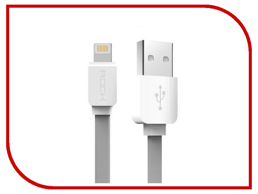 Акустическая система для iPhone/iPad/iPod ROCK Flat USB - Lightning 1m Grey<br>