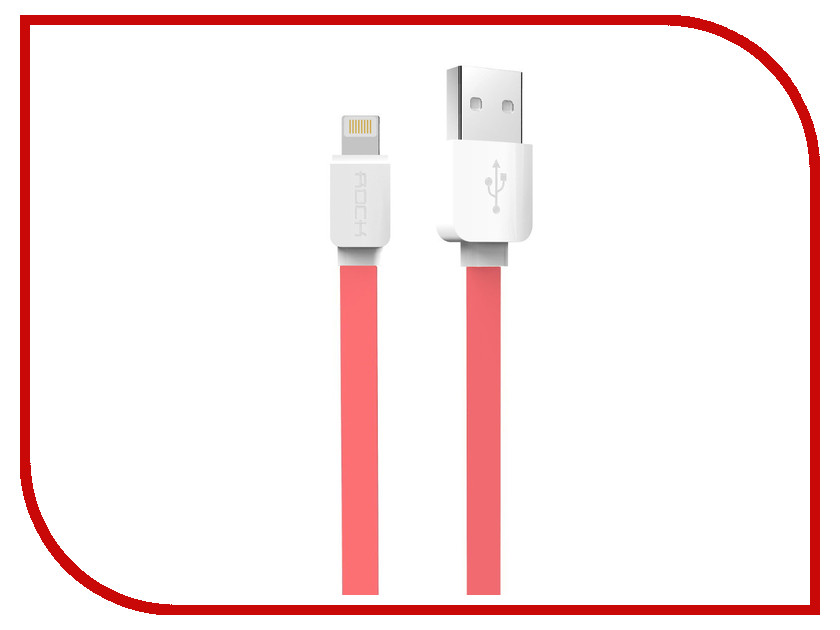 Аксессуар Rock Flat USB - Lightning 1m Red
