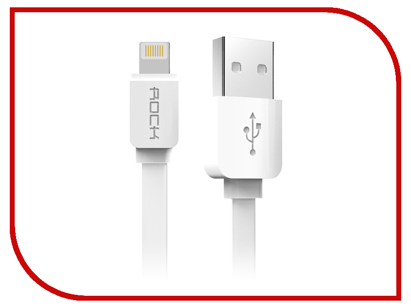 Акустическая система для iPhone/iPad/iPod ROCK Flat USB - Lightning 1m White<br>