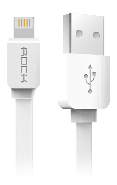 Аксессуар ROCK Flat USB - Lightning 1m White<br>