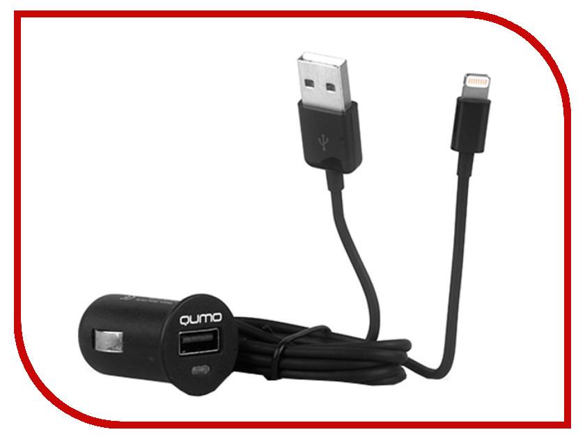Зарядное устройство Qumo USB + MFI APPLE 8pin Black 20065<br>