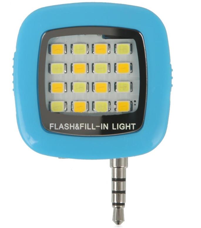 Аксессуар SkinBox LED Flash 16 диодов jack 3.5mm Blue Вспышка