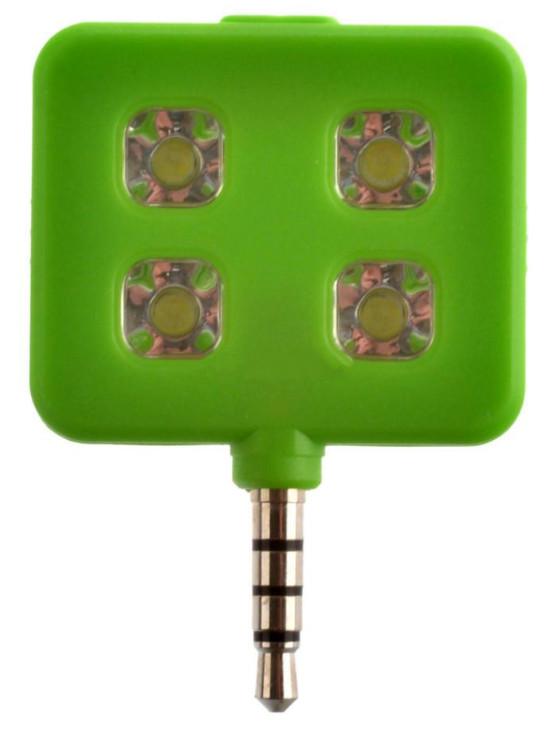 Аксессуар SkinBox LED Flash 4 диода jack 3.5mm Green Вспышка