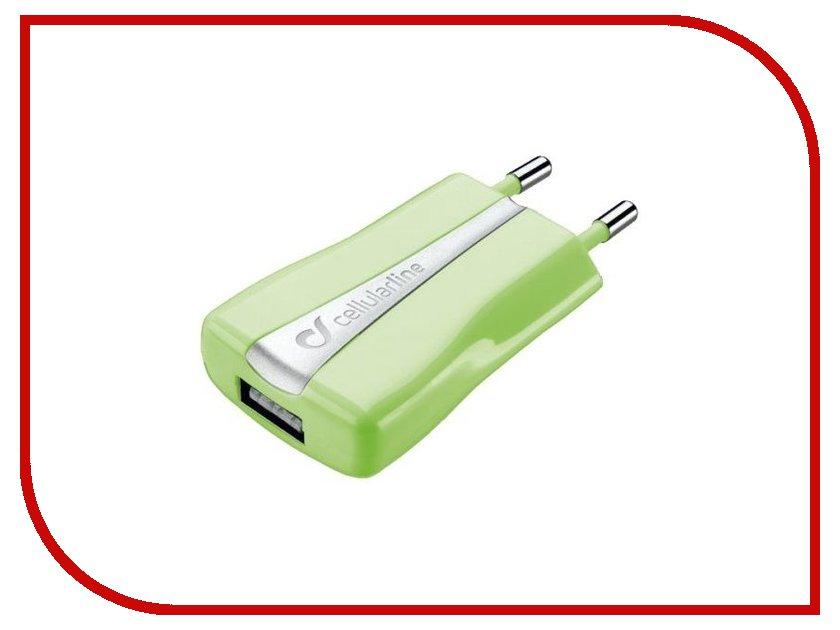 Зарядное устройство Cellular Line USB 1000mA ACHUSBCOMPACTCG Green<br>