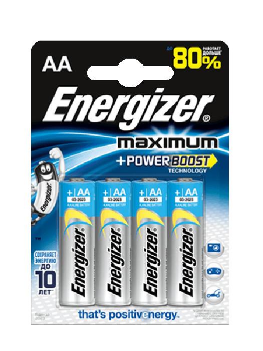 Батарейка AA - Energizer Maximum LR6/E91 1.5V (4 штуки) 11687 батарейка energizer maximum lr6 e91 fsb2 aa