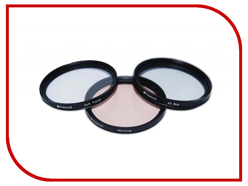 Светофильтр Polaroid Star 4, Soft Focus, Warming 55mm - набор фильтров PLFIL3FX55