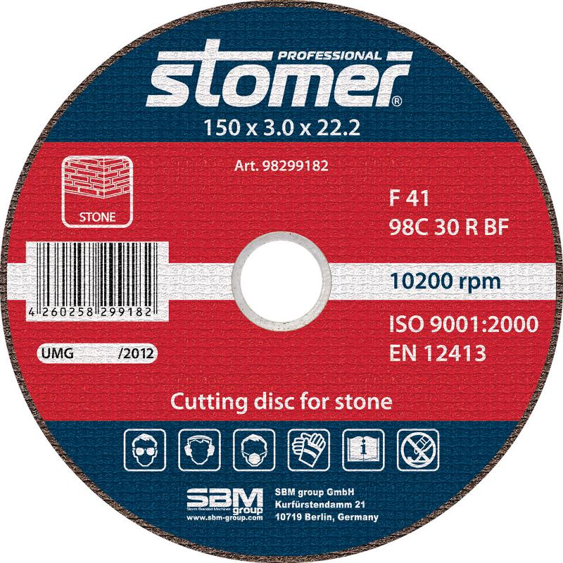 Диск Круг Stomer CS-150 отрезной, по камню 150x3x22.2mm